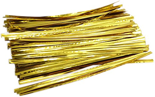 MiL 700pcs 6-inches Golden Metallic Twist Ties (1 Mil Clear Patch)