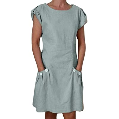Shakumy Women Cotton Linen Cut Out V Neck Short Mini Dress Casual Short Sleeve Summer Tunic T Shirts Tops Blouses Dress: Clothing