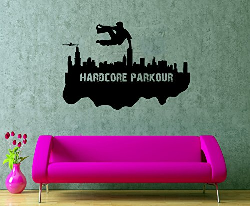 Parkour Wall Design Jumping Vinyl Stencil Boy's Room Interior Decor Traceur Posters (Free Banner Templates)