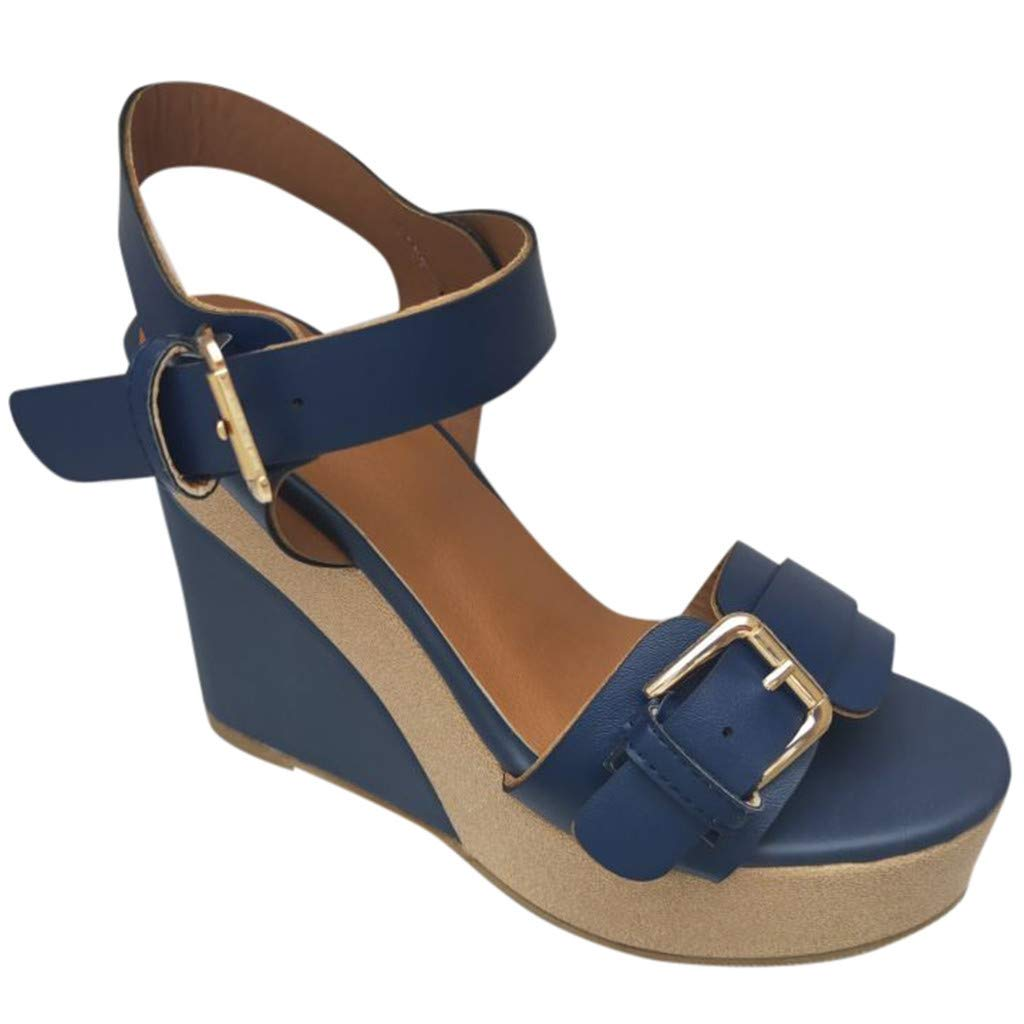 Women's Sandals Bummyo Summer Ladies Wedge Platform High-Heeled Sandals Ankle Strap Peep Toe Comfortable Casual Shoes(9M US, Blue)