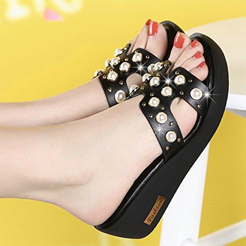 moda EU34 zapato Talón colores de 5cm LIXIONG Negro Altura zapatillas 2 Zapatos CN34 UK3 Negro Hembra 220 Color talón grueso Moda del verano Wedgies Tamaño Antideslizante medio talón vaHga6