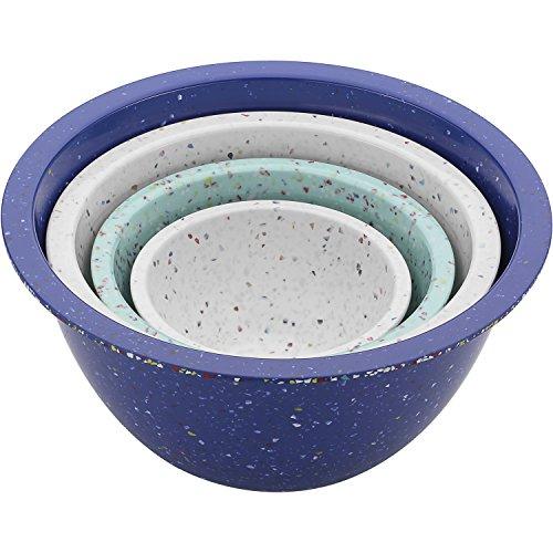 Zak Designs 2325-7005 Confetti Mixing Bowl Sets, 4-Piece, White, Blue & Mint (Trash Bowl)