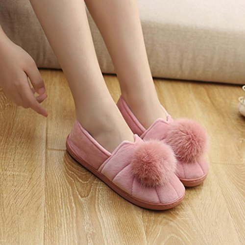 HKFV Unique Charming Comfortable Creative Charming Design For Women's Winter Indoor Slippers Hairball Anti-Slip Soft Pregnant Women Shoes Keep Your Foot Warming In Winter (5-5.5, Pink)