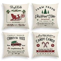 Christmas Farmhouse Home Decor AVOIN Christmas Throw Pillow Cover, 18 x 18 Inch Winter Holiday Rustic Farmhouse Cushion Case for Sofa Couch Set of 4 farmhouse christmas pillow covers