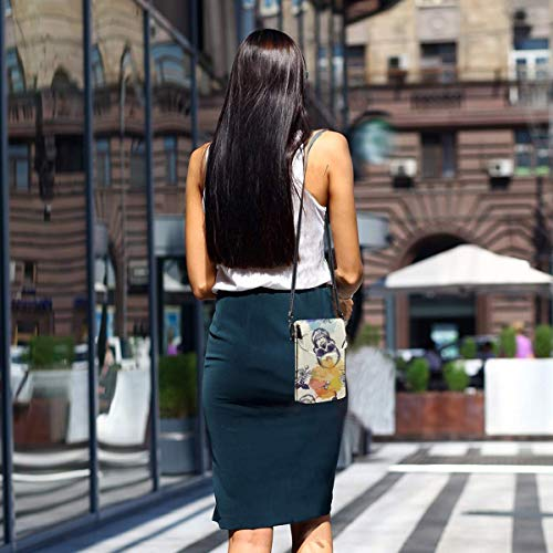 Hdadwy mobiltelefon crossbody väska skalle blomma kvinnor PU-läder mode handväska med justerbar rem