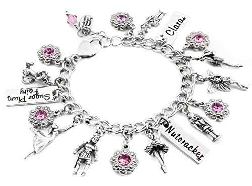 [Nutcracker Charm Bracelet personalized with your choice of crystals and engraved name] (Sugar Plum Fairy Costume Ballet)