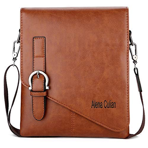 Alena Culian Men Shoulder Bag Messenger Bag Men Bag Crossbody Bag For ipad(Khaki)