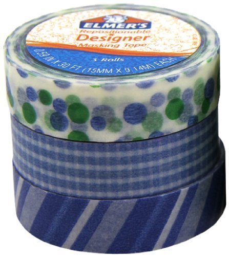 Elmer's Designer Masking Tape, Assorted Primary Patterns, 3 Rolls per Pack (E5027)