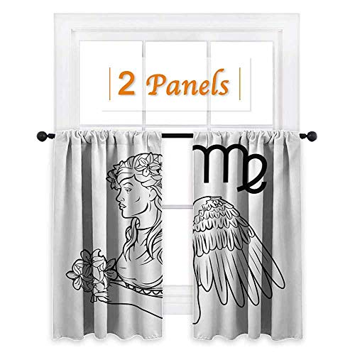 DESPKON-HOME Curtains/Panels/Drapes, Zodiac Virgo Astrological Angel Carrying a Bouquet of Lily Flowers in a Greek Dress Pattern Darkening Curtains, Black and White W108 x L96 -