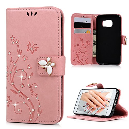 Butterfly Floral Wallet - Galaxy S7 Case, Mavis's Diary Elegant Embossed Butterfly Floral Wallet 3D Handmade Bling Crystal Diamond Shockproof Protective PU Leather Flip Folio Cover & Wrist Strap Card Slot for Samsung Galaxy S7