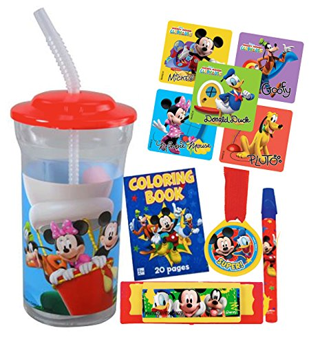 Mickey Mouse Club House Fun Sip Favor Cup! Valentines Gift, Easter Basket Filler, Stocking Stuffer or Party Favor! Pre-Filled & Ready For Giving! Includes Keepsake Tumbler, Stickers & Favors!