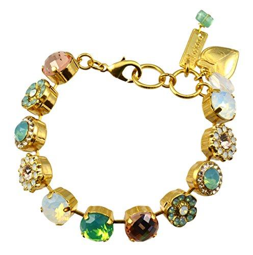 "Mariana Gold Plated Flower Crystal Tennis Bracelet, 8"""