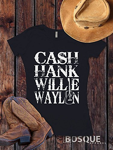 Cash, Hank, Willie, Waylon Style Shirt Icons of Country Music T-Shirt Southern Style - Ink Printed