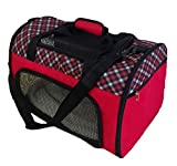 Pet Carrier Airline Approved For Cats and Toy / Small Dogs up to 10lbs by Magnolia Pets. Soft-Sided Canvas Bag Includes Mesh Windows For Air (Plaid, Red) -- 50% Off!