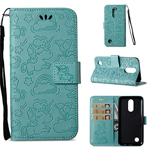 XHD-screen protector Multi-Function Card and Cash Slots Wallet PC + TPU Leather Phone Cover for LG K4 2014 Case (Color : Green) (Xhd Card)
