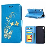 MOONCASE Xperia Z2 Case, Bronzing Butterfly Pu Leather Wallet Pouch Etui Flip Kickstand Case Cover for Sony Xperia Z2 Bookstyle Folio [Shock Absorbent] TPU Case with Photo Frame Blue