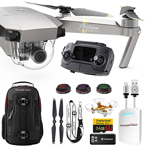 DJI Mavic PRO Platinum UPGRADE COMBO w/ Backpack, Battery, Lens Filters, 64gb+16gb MicroSD, Sunshade, Power Bank Adapter, Battery Bank, iPhone Cable, Lanyard & FREE Mini Drone by Drone World