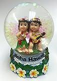 Aloha Hawaii Snow Globe w/Hawaiian Hula Girl Hula Boy & Ukulele, Plumeria, Ocean Design 45 mm