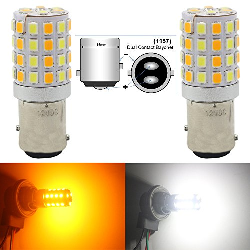 KaTur 1157 7528 BAY15D 1016 1034 Switchback LED Bulbs White//Amber High Power Extremely Bright 2835 Chipsets with Projector for Turn Signal Lights and Daytime Running Lights//DRL Pack of 2