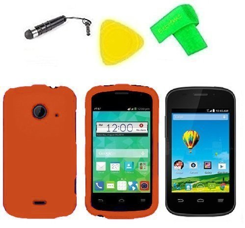 l Phone Accessory + Extreme Band + Stylus Pen + LCD Screen Protector + Yellow Pry Tool For ZTE Whirl 2 Z667G Z 667 G (Orange) ()
