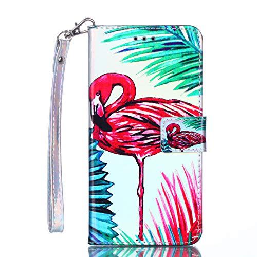 (Galaxy S10 Plus - Case, for [S10+], MerKuyom [Wrist Strap] [Kickstand] Premium PU Leather Wallet Pouch Flap Flip Cover Case + Stylus for Samsung Galaxy S10 Plus 6.4-inch (Green Leaf Pink Bird))