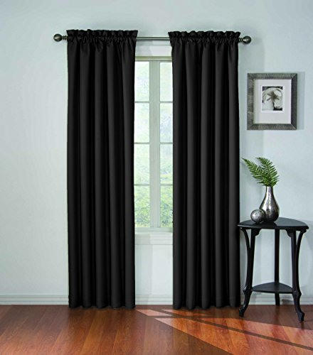 ECLIPSE Blackout Curtains for Bedroom - Corinne Insulated Darkening Single Panel Rod Pocket Window Treatment, Living Room, 42