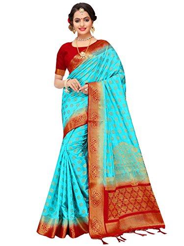 Blue Sari Turquoise (ELINA FASHION Sarees for Women's Banarasi Art Silk Woven Work Saree l Indian Wedding Sari & Blouse Piece (Turquoise))