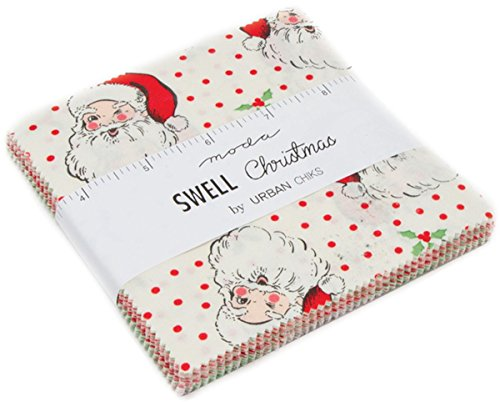 Swell Christmas Charm Pack by Urban Chiks; 42-5 inch Precut Fabric Quilt Squares by MODA