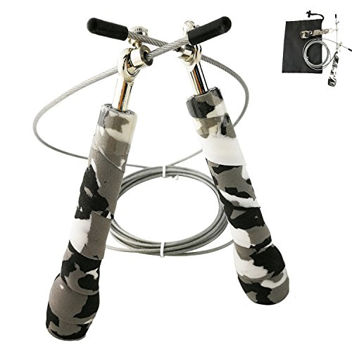 Jump Rope Adjustable steel wire ball bearing - Antiskid Sweat Absorption Handles - for Fitness Training,Boxing,Speed,Skipping Exercise, Comes With a Carrying Bag ()