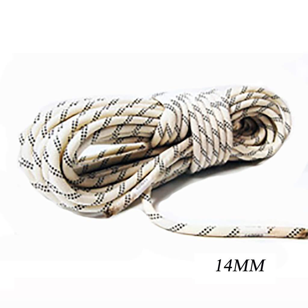 LIZIPYS Cordes Static Ropes Corde de Rappel pour Alpinisme extérieur Corde de sécurité Anti-Usure en Nylon Φ14MM (0.55mm) Blanc, Noir