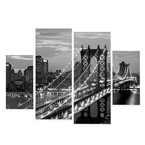 Auntwhale 4Pcs/Set New York Manhattan Bridge Black&White Inkjet Oil Painting Decorations, Suitable for Living Room Coffee Shop Home Decor ()