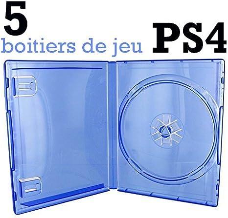 5 BOITIERS VIDES PS4 - BLEU TRANSPARENT: Amazon.es: Oficina y ...
