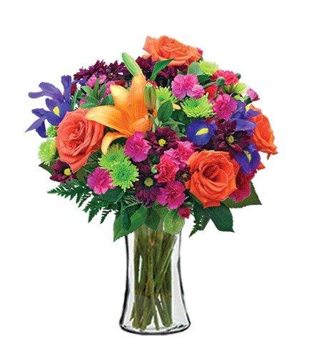 Vibrant Garden Bouquet with Vase
