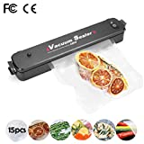 Vacuum Sealer by Colleer, 3-in-1 Automatic Food Sealer Portable with 15 Reusable Vacuum Sealing Bags for Sous Vide Cooking, Home vacuum packaging machine, Hassle Free