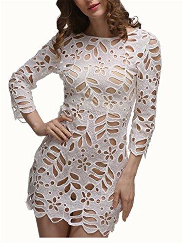 Bikini Cubierta YOGLY Vestido Crochet Bikini Encaje Cover Up para Mujer Manga Larga Vestido de Cuello Redondo Vestido de Playa Beachwear blanco