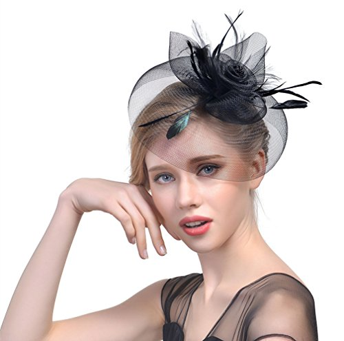 Vintage Wedding Headpieces (Zhisheng You Vintage Accessories Feather Flapper Headpiece Wedding 1920s Gatsby Headbands (black))