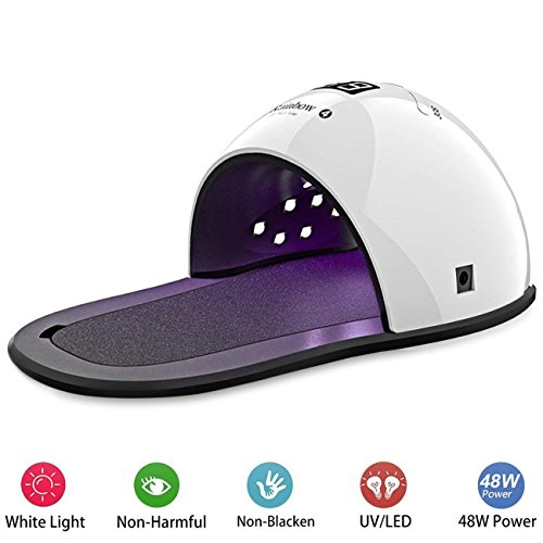 UV Nail Lamp - Kainoua Upgrade 48W UV LED Nail Dryer Curing Lamp with Dissipation Protection, Dual Light Source, Auto-Sensor, Timer Setting&Display for All Gel Nail Polish, Perfect for Home and Salon