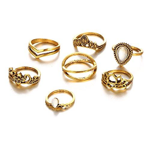 7PCS/Set Vintage Lotus Moonstone Crown Waterdrop Flower Midi Knuckle Rings