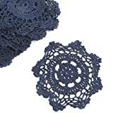 """6"""" Navy Blue Round Cotton Hand Crocheted Lace Doilies, Set of 12"""