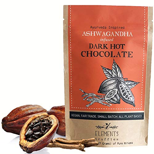 Elements Truffles Ashwagandha Infused Dark Hot Chocolate - All-Natural, Handmade, Small-Batch Dark Hot Chocolate Mix With Ecuadorian, Fair Trade, Organic Cacao Powder - Vegan Hot Cocoa Mix - 8 Ounces