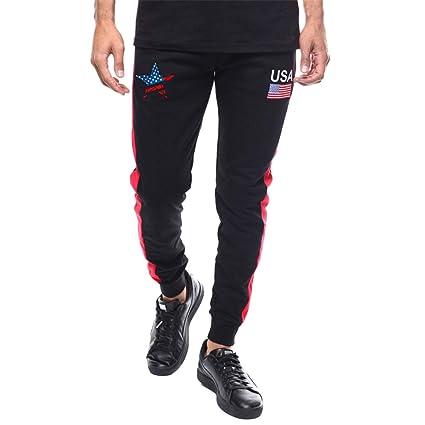 Amazon.com: Men Plus Size Casual Pants USA Flag Comfort ...