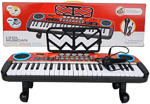 huijdew [Delivery Within 2-7 Days] Electronic Piano Keyboard Piano Portable Musical Instrument Multifunctional Children's Piano Music Teaching Toy 49 Keys with Microphone