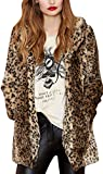 Search : Women's Sexy Winter Faux Fur Coat Leopard Printed Mid-Length Lapel Jacket with Pockets