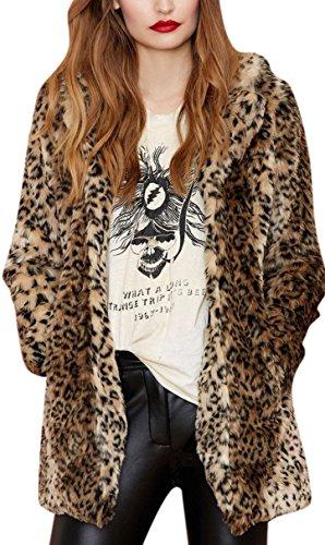Leopard Coat (Women's Sexy Winter Faux Fur Coat Leopard Printed Mid-Length Lapel Jacket with Pockets S Black)