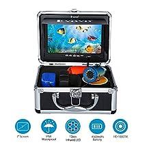 "Eyoyo 7"" TFT LCD Monitor Fishing Camera Portable Underwater Fish Finder 30M HD 1000TVL with 12 Infrared Lights for Ocean,Ice,Lake,Boat,Kayak Fishing"