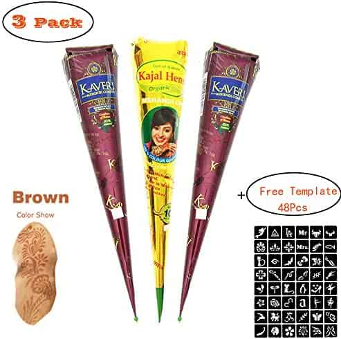 Henna Tattoos Kits - 3 Brown Cone Temporary Tattoo Henna Tattoo Paste Cone for Body Art Painting with 48 x Adhesive Stencil