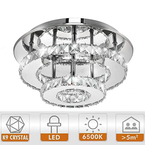 Ganeed Modern LED Ceiling Light,12 Inch Stainless Steel K9 Crystal Flush Mount Lights Fixture,Three Layers Round Chandelier Ceiling Lamp for Dining Living Room Bedroom(36W / 6500K / Cool White) ()