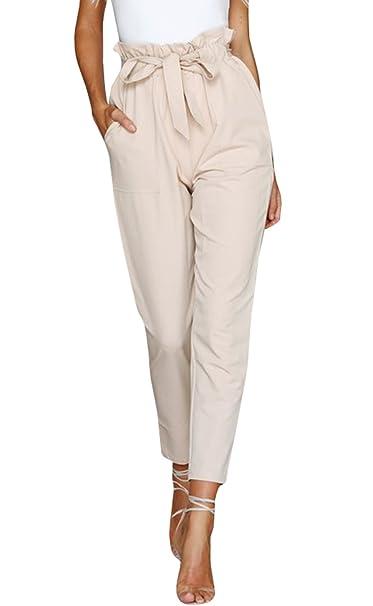 Amazon.com: geckatte para mujer lino Pantalones Talle Alto ...