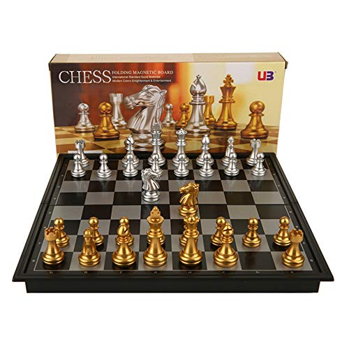 (LGFA Magnetic International Chess Foldable Royal 32 European STYL Game Set Chess Board 25x25x2cm ajedrez Chino Silver and Gold)