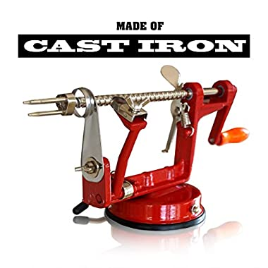 CAST IRON APPLE PEELER by Purelite ★ Professional Grade Durable Heavy Duty Cast Iron Apple Slicing Coring and Peeling Machine ★ Razor Sharp Stainless Steel Blades and Chrome Plated Parts ★ eBook Included
